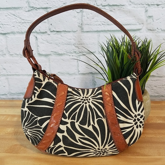 Fossil Handbags - Fossil Leather & Floral Canvas Bag
